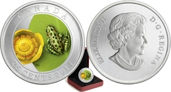 FLORA AND FAUNA -  WATER-LILY AND LEOPARD FROG -  2014 CANADIAN COINS 04