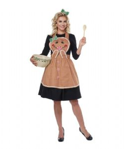 FOOD -  GINGERBREAD APRON COSTUME (ADULT - ONE SIZE)