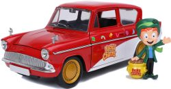 FORD -  1959 FORD ANGLIA 1/24 WITH LUCKY THE LEPRECHAUN FIGURE - RED AND WHITE