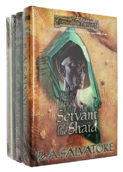 FORGOTTEN REALMS -  3 VARIOUS HC BOOKS : THE SPINE OF THE WORLD + THE SILENT BLADE + SERVANT OF THE SHARD (USED) (ENGLISH)