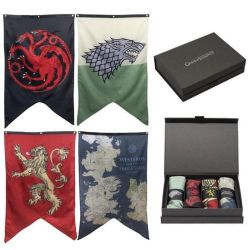 GAME OF THRONES, A -  GIFT BOX SET WITH STARK, TARGARYEN, LANNISTER AND WESTEROS BANNER (30