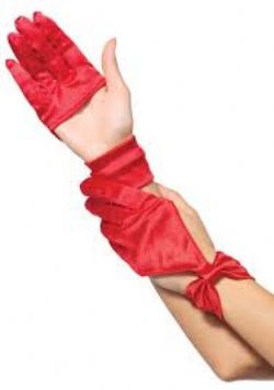 GLOVES -  SATIN CUT OUT GLOVES WITH BOW WRIST DETAIL - RED (WOMEN - ONE-SIZE)