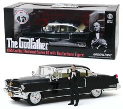 GODFATHER -  THE GODFATHER - 1955 CAILLAC FLEETWOOD SERIES 60 WITH DON CORLEONE FIGURE - 1:18