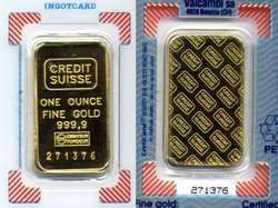 GOLD BARS -  1 OUNCE PURE GOLD BAR