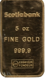 GOLD BARS -  5 OUNCES PURE GOLD BAR