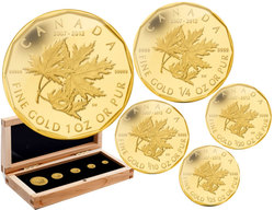 GOLD FRACTIONAL SETS -  5TH ANNIVERSARY OF THE MILLION DOLLAR MAPLE LEAF -  2012 CANADIAN COINS 02