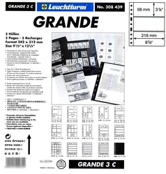 GRANDE -  5 STOCK SHEETS, 3 POCKETS, CLEAR