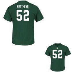 GREEN BAY PACKERS -  CLAY MATTHEWS #52 T-SHIRT - GREEN