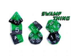 HALFSIES DICE -  SWAMP THING - GREEN/BLACK (7)