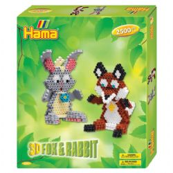 HAMA BEADS -  3D FOX & RABBIT (2500 PIECES)