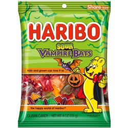 HARIBO -  SOUR VAMPIRE BATS GUMMIES CANDY (4 OZ)