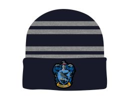 HARRY POTTER -  BLACK HEATER ROLLED KNIT BEANIE - RAVENCLAW