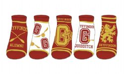 HARRY POTTER -  GRYFFINDOR - 5 PAIRS ANKLE SOCKS (9-11)