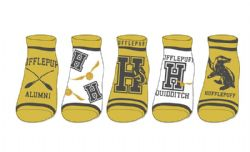 HARRY POTTER -  HUFFLEPUFF - 5 PAIRS ANKLE SOCKS (9-11)