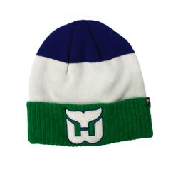 HARTFORD WHALERS -  BEANIE WITH POMPOM - BLUE/WHITE/GREEN