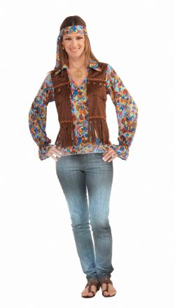 HIPPIES -  GROOVY SET COSTUME (ADULT - ONE SIZE)
