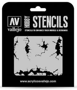 HOBBY STENCILS -  CRACKED WALL (125 X 125MM)