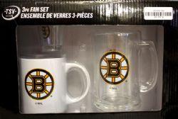 HOCKEY -  3-PIECE GLASS SET - BOSTON BRUINS