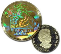 HOLOGRAPHIC CHINESE LUNAR CALENDAR -  YEAR OF THE OX -  2009 CANADIAN COINS 10
