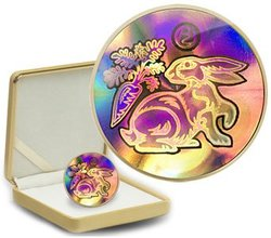 HOLOGRAPHIC CHINESE LUNAR CALENDAR -  YEAR OF THE RABBIT -  2011 CANADIAN COINS 12