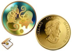 HOLOGRAPHIC CHINESE LUNAR CALENDAR -  YEAR OF THE RAT -  2008 CANADIAN COINS 09