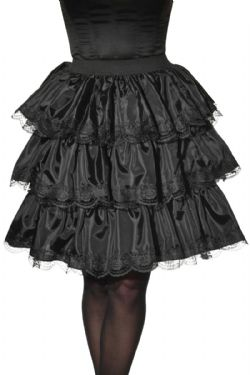 HORROR -  BLACK RUFFLE SKIRT - BLACK (ONE SIZE)