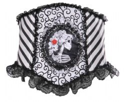 HORROR -  SKELETAL CINCHER - BLACK AND WHITE (ONE SIZE)