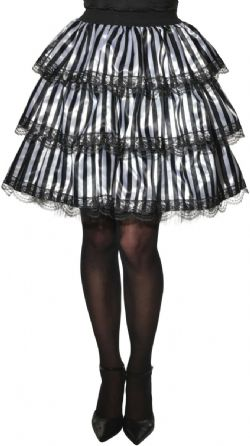 HORROR -  STRIPED RUFFLE SKIRT - BLACK AND WHITE (ONE SIZE)