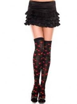HOSIERY -  BLACK WITH CHERRIES PRINT - ONE SIZE -  THIGH HIGH