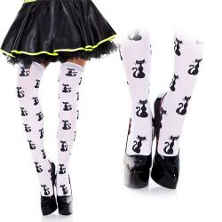 HOSIERY -  CAT PATTERN - ONE SIZE -  THIGH HIGH