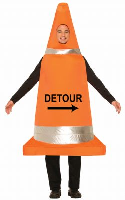HUMOR -  TRAFFIC CONE COSTUME (ADULT - ONE SIZE)