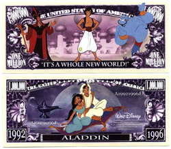 HUMORISTIC BILLS -  ALADDIN - UNITED STATES ONE MILLION DOLLARS BILL