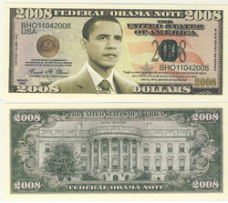 HUMORISTIC BILLS -  BARACK OBAMA 2008 - UNITED STATES ONE MILLION DOLLARS BILL