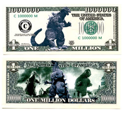 HUMORISTIC BILLS -  GODZILLA - UNITED STATES ONE MILLION DOLLARS BILL