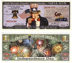 HUMORISTIC BILLS -  INDEPENDENCE DAY - UNITED STATES ONE MILLION DOLLARS BILL