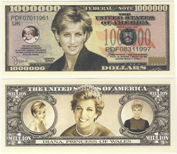 HUMORISTIC BILLS -  LADY DIANA - UNITED STATES ONE MILLION DOLLARS BILL