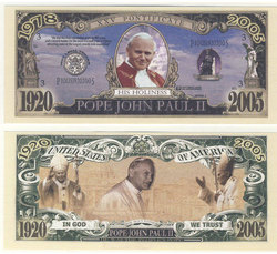 HUMORISTIC BILLS -  POPE JOHN PAUL II - UNITED STATES BILL