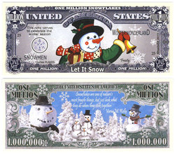 HUMORISTIC BILLS -  SNOWMAN - UNITED STATES ONE MILLION DOLLARS BILL