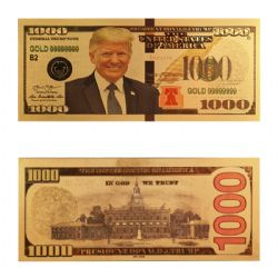 HUMORISTIC BILLS -  TRUMP - UNITED STATES 1000 DOLLARS BILL (PURE GOLD PLATED)