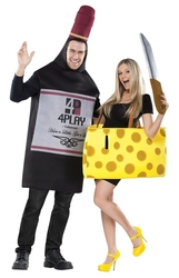 HUMORISTIC -  WINE AND CHEESE COSTUME (ADULT - ONE-SIZE) -  COUPLE COSTUME