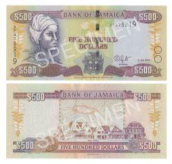 JAMAICA -  500 DOLLARS 2017 (UNC)