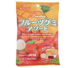 KASUGAI GUMMY -  FRUIT GUMMY CANDY ASSORTMENT - LYCHEE, MANGO & STRAWBERRY (102G)