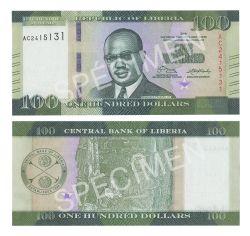 LIBERIA -  100 DOLLARS 2016 (UNC)