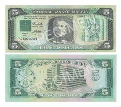 LIBERIA -  5 DOLLARS 1989 (UNC)