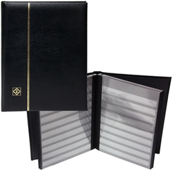 LIGHTHOUSE -  BLACK LEATHER 16-SHEET STOCKBOOK (32 BLACK PAGES)