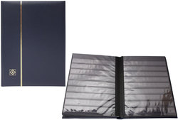 LIGHTHOUSE -  BLUE LEATHER 16-SHEET STOCKBOOK (32 BLACK PAGES)