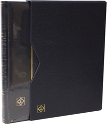 LIGHTHOUSE -  BLUE LEATHER 16-SHEET STOCKBOOK WITH SLIPCASE (32 BLACK PAGES)