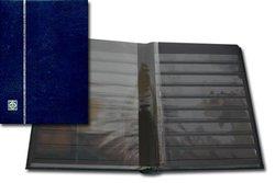 LIGHTHOUSE -  BLUE LEATHER 32-SHEET STOCKBOOK (64 BLACK PAGES)