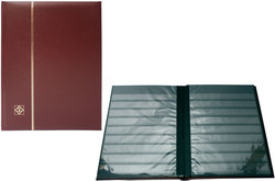 LIGHTHOUSE -  BURGUNDY LEATHER 16-SHEET STOCKBOOK (32 BLACK PAGES)