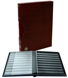 LIGHTHOUSE -  BURGUNDY LEATHER 16-SHEET STOCKBOOK WITH SLIPCASE (32 BLACK PAGES)